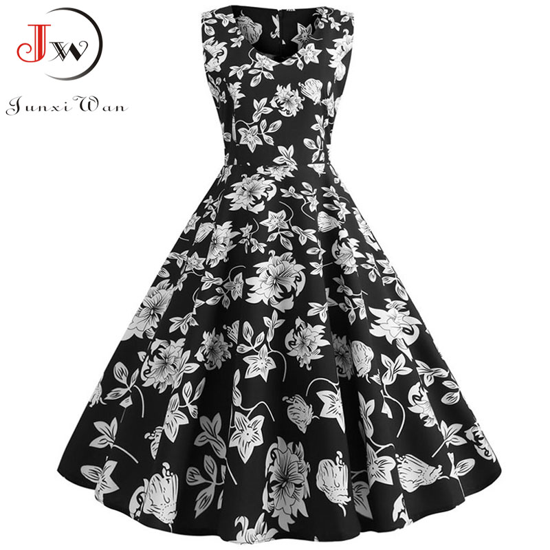 Sexy Retro Floral Print Dress 2020 Women Summer Vintage V Neck Party Dress 50s 60s Pin Up Rockabilly Dress Plus Size Robe Femme 1