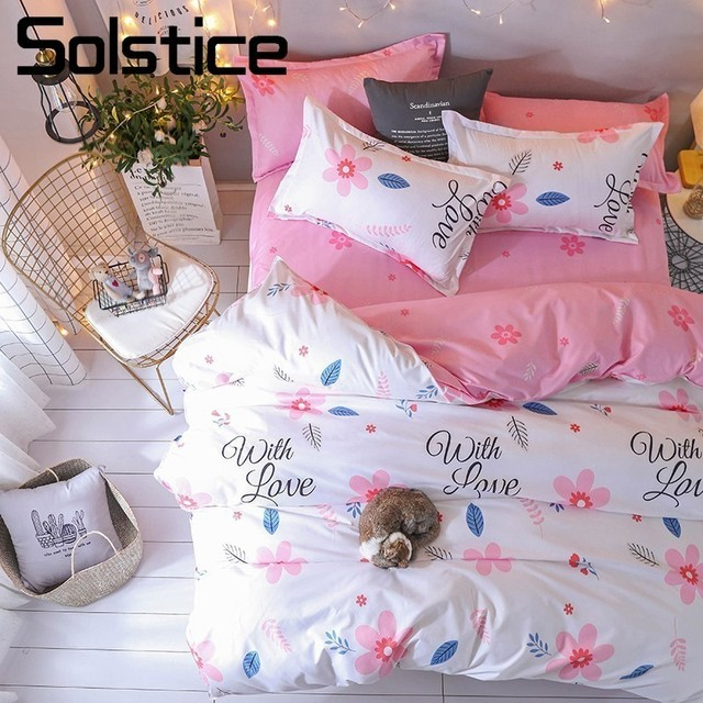 Solstice Home Textile Soft Pink Girl Bed Linen 3/4Pcs Sweet Flower Bedding Sets Duvet Cover Pillowcase Bed Sheet Queen Twin Size