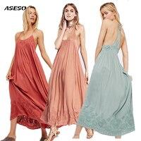 Mujeres vendaje dress en amor de algodón completa lemon flor bohemia halter dress bordado gente ama larga dress tirantes