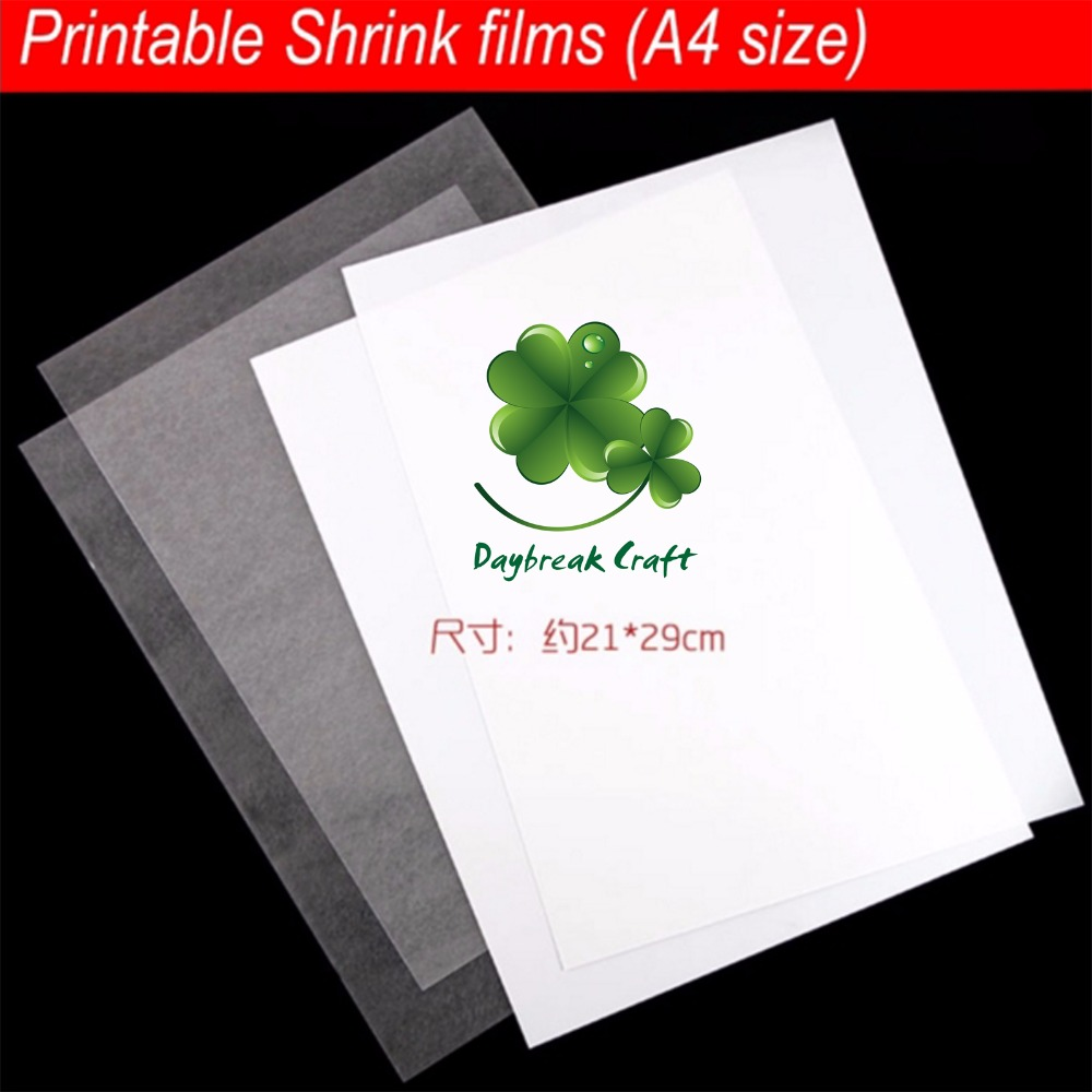 (Pack Of 10) DIY Creative A4 Size Printer Inkjet Shrink Film Plastic Sheet