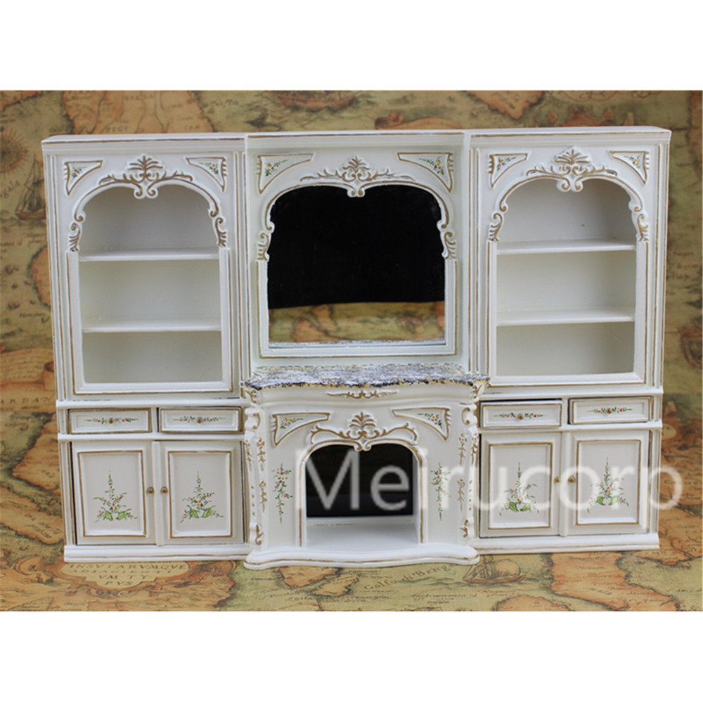 Dollhouse miniature furniture 1 12 scale luxury White hand painted fireplace and wall