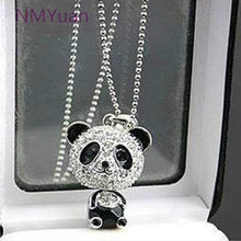 Fashion exquisite lady classic imitation rhinestone shaking head panda pendant sweater chain and necklace(China)