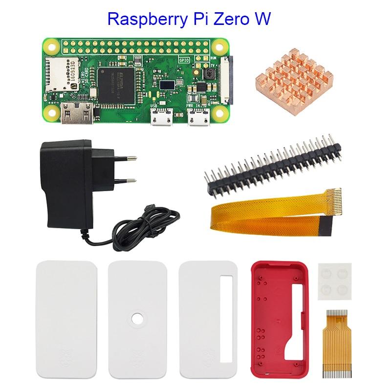 Raspberry Pi Zero W Starter Kit + Official Case + 5V 2A Power Supply Adapter + Heat Sink + GPIO Header for Raspberry Pi Zero W raspberry pi zero w case acrylic case black aluminum heat sink transparent box compatible for raspberry pi zero v 1 3 board