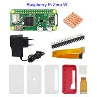 Raspberry Pi Zero W Starter Kit +Official Case + 5V 2A Power Supply Adapter + Heat Sink + GPIO Header for Raspberry Pi Zero W