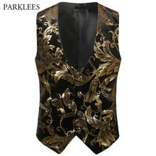 2018 Spring Autumn Mens Vest Vintage Male Waistcoat Steampunk Vest Men Shiny Bronzing Floral Wedding Gilet Homme Casual Clothing цена