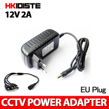 1PCS 12V2A AC 100V-240V Converter Adapter DC 12V 2A 2000mA Power Supply EU Plug 5.5mm x 2.1-2.5mm for LED CCTV Free Shipping