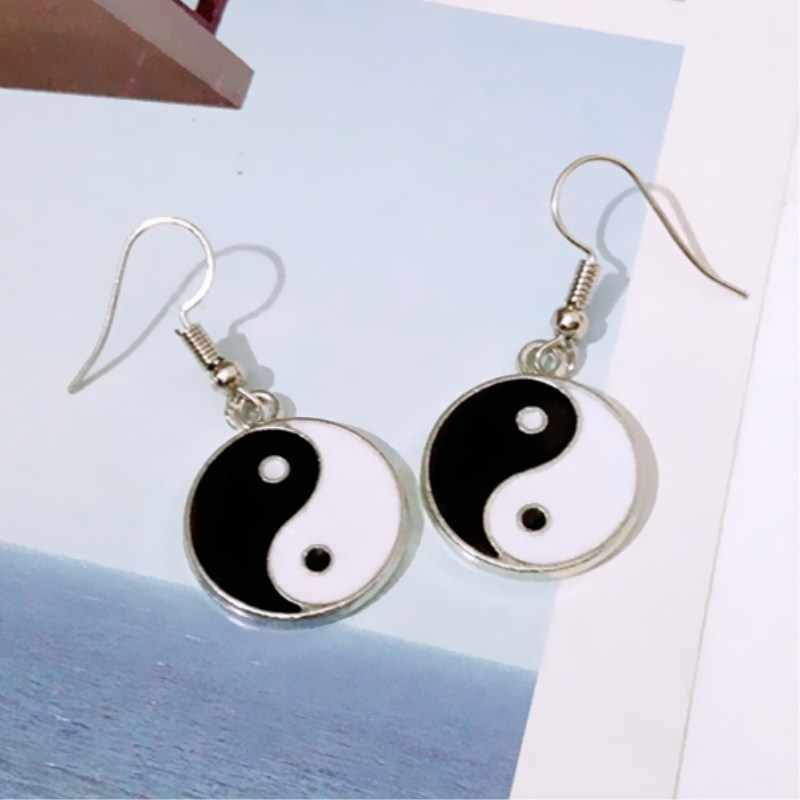 EK1009 New Fashion Black White Tai Chi Drop Earrings For Women Simple Retro Silver Taiji  Dangle Earrings Statement Bijoux