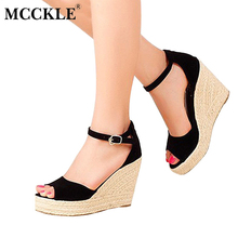 mcckle fashion superior quality comfortable bohemian wedges women sandals for ladies shoes high platform open toe