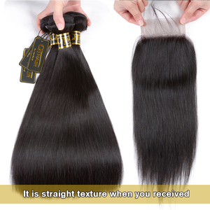 Image 2 - QT 髪ウェットと波状バンドル閉鎖でバンドル閉鎖ブラジル人毛織りで 3 バンドル閉鎖