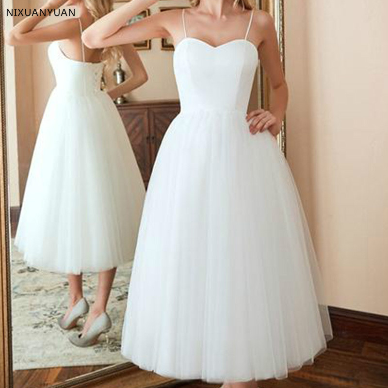 Wedding Ball Gowns With Straps: Short Simple Mid Calf Tulle And Satin Sweet Heart