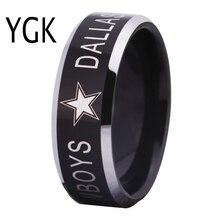 YGK ювелирный бренд Лидер продаж 8 мм Dallas Cowboys Дизайн Для мужчин черный с серебряной конические edgetungsten Comfort Fit кольцо для свадебные