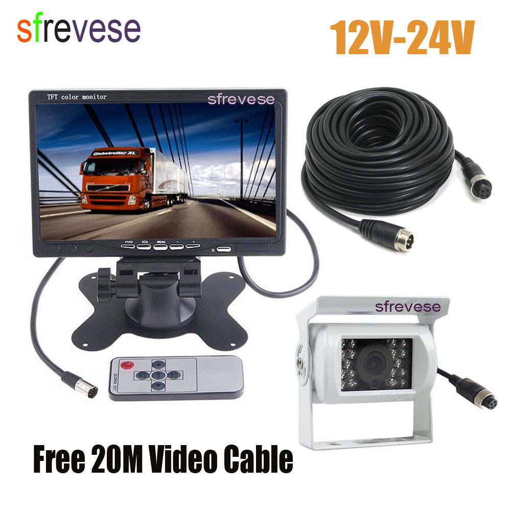 7 LCD Monitor Car Rear View Kit + White 4Pin CCD Reversing Parking Backup Camera with 20M Cable for Bus Truck Motorhome 12V-24V free shipping 4 3 lcd monitor car rear view kit 1ch auto parking system for truck bus school bus dc 12v input rear view camera