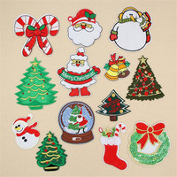Embroidered iron on patches for clothes 93mm Christmas series deal with it clothing biker patch DIY cute Sticker free shipping