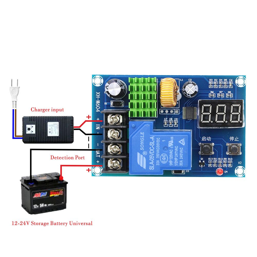 XH-M604 Battery Charger Control Module DC 6-60V Storage Lithium Battery Charging Control Switch Protection Board 18650 lithium battery 5v micro usb 1a charging board with protection charger module for arduino diy kit