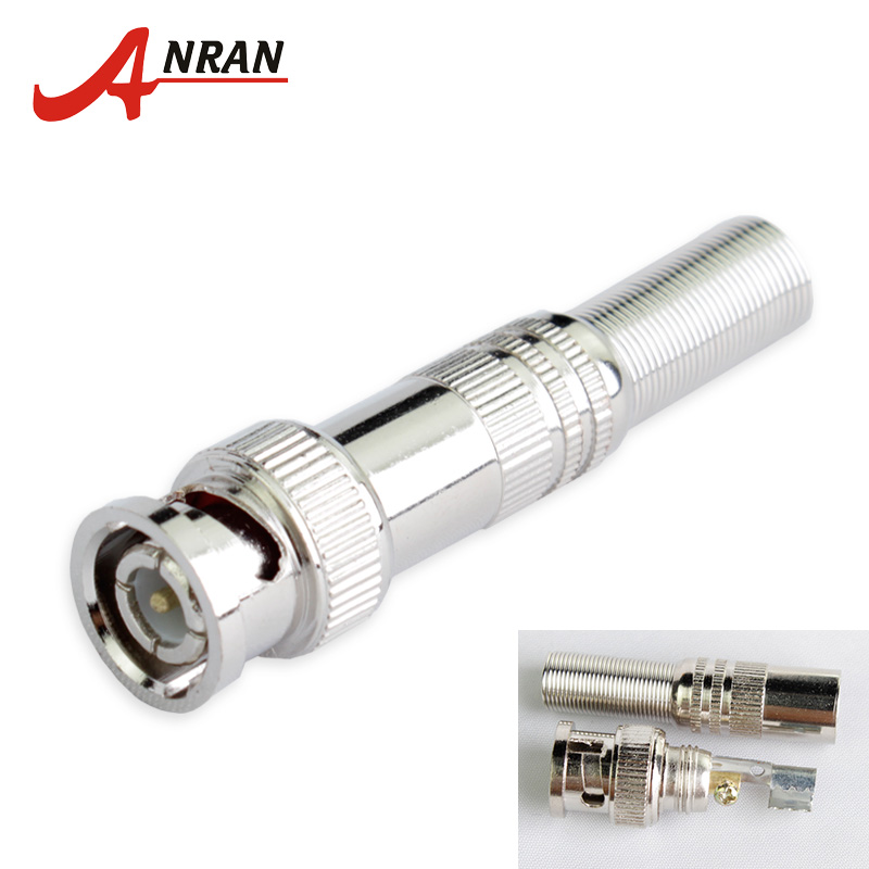 ANRAN 10 Pcs/lot BNC Connector Male for RG-59 Coaxical Cable, Brass End, Crimp, Cable Screwing, For CCTV Camera Surveillance Kit 10 pcs lot cctv system solder less twist spring bnc connector jack for coaxial rg59 camera for surveillance accessories