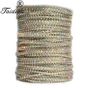 Image 1 - Taidian Transparante Kleur SS8 Glas AB Sew Op Rhinestone Trim Banding Voor Kraal werk 50 yards/roll