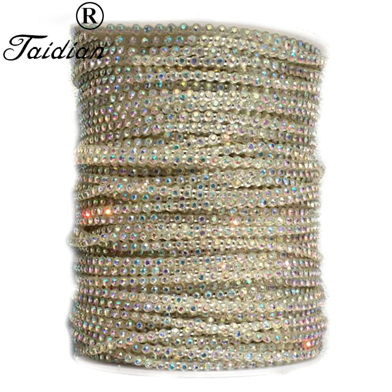 Taidian Transparent Color SS8 Glass AB Sew On Rhinestone Trim Banding For Bead work 50yards/roll-in Jewelry Findings & Components from Jewelry & Accessories