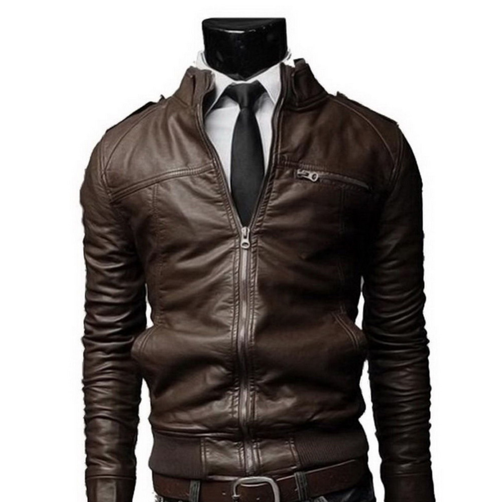 a7e9c133a3d6d Men s Motorcycle PU Leather Jackets Men Leather Autumn Winter Slim Fit  Jackets Male Business Fitness Casual Faux Leather Coats