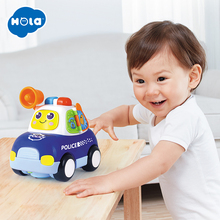 HOLA 6108 Toy Vehicle Baby Cartoon Car with Music & Light Helicopter Police Taxi Ambulance Children Gift