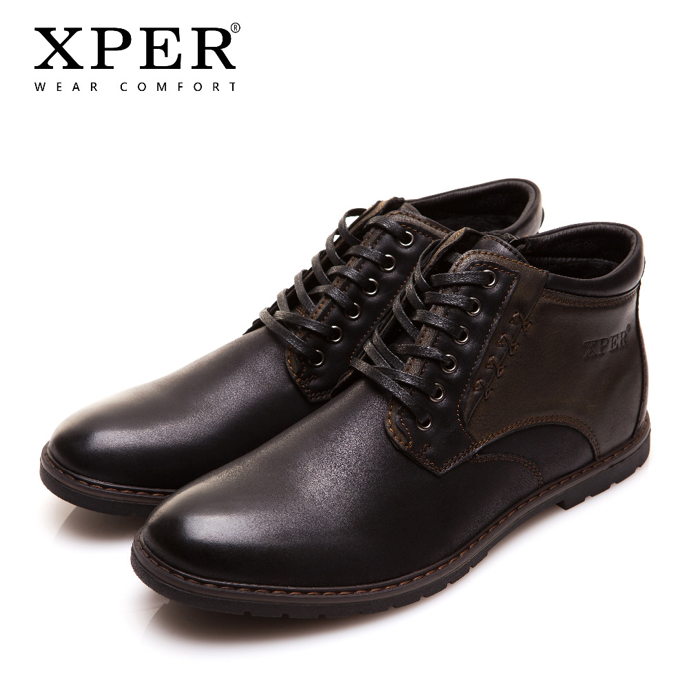 XPER Brand Autumn Winter Men Shoes Boots Casual Fashion High-Cut Lace-up Warm Hombre #YM86901BU men shoes new autumn fashion men casual shoes lace up warm brand winter shoes mixed color high top flat with mens shoes