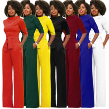 New hot fashion personality Slim trousers high waist belt female jumpsuit collar solid color loose casual