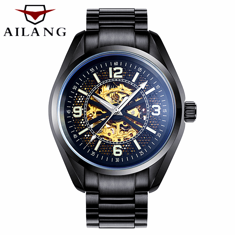 Stainless Steel Skeleton Mechanical Watch Fashion Luxury brand Men Business Wrist watch Men gift Automatic Mechanical Watch 2017 hot sale luxury luminous automatic mechanical skeleton dial stainless steel band wrist watch men women best christmas gift