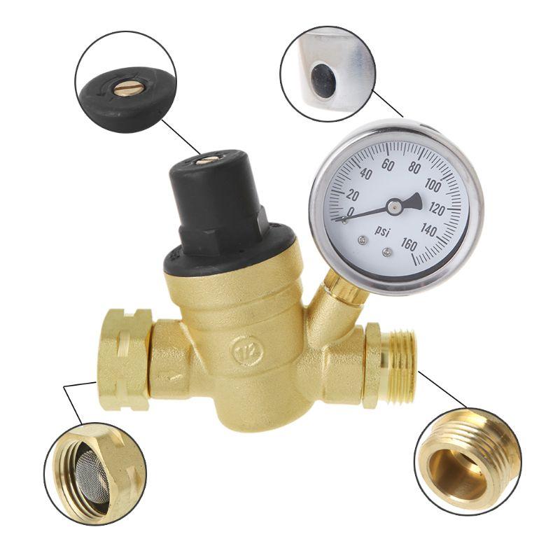 RV Water Pressure Regulator Brass Lead Free Adjustable Pressure Reducer Gauge