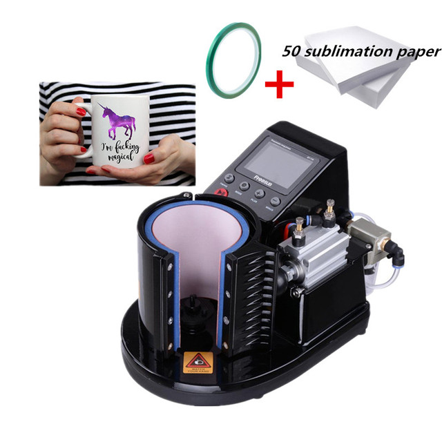 New Ariival ST-110 Pneumatic Mug Heat Press Machine Sublimation Printer Digital Thermal Mug Printing Machine 50 paper 1 tape