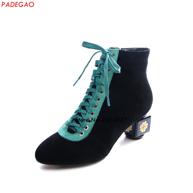 Black Suede Patchwork Women Boots With Zipper Strange Heels Ladies Ankle Boots Round Toe High Heel BootiesBlack Suede Patchwork Women Boots With Zipper Strange Heels Ladies Ankle Boots Round Toe High Heel Booties
