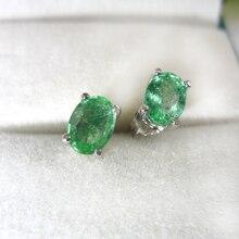 1,6 карат натуральный изумруд серьги женские зеленые ювелирных камней экономически эффективным Серебро 925 серьги-гвоздики ASOS
