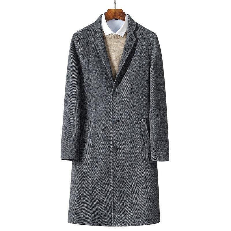 2017 automne nouveaux hommes de laine vestes tranchée manteau Hommes coupe-vent pardessus de laine plein taille M-3XL