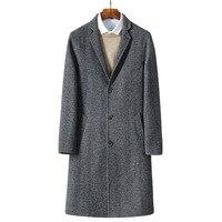 2017 autumn new Men's woolen jackets trench coat Men windbreaker woolen overcoat full size M 3XL