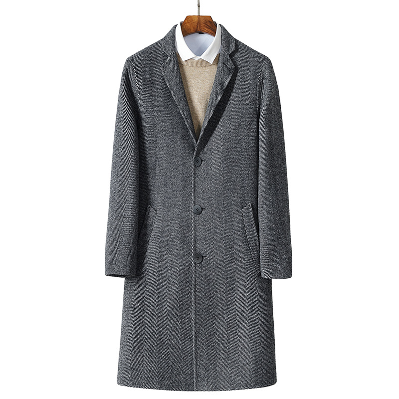 2017 الخريف جديد الرجال الصوف جاكيتات خندق معطف الرجال سترة واقية معطف الصوف كامل حجم M 3XL-في صوف مختلط من ملابس الرجال على  مجموعة 1