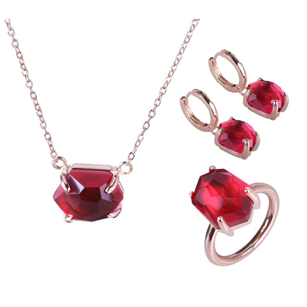 KELITCH Silver Fashion Rose Gold Jewelry Sets for Women Trendy Wedding Bridal Jewelry Natural Gemstone Necklace Earrings Rings