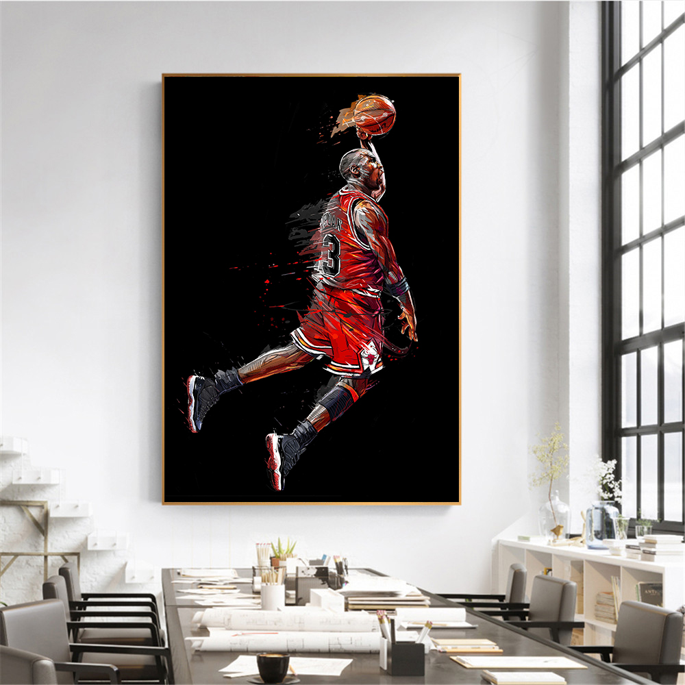Michael Jordan MVP Fly Dunking Basketball Silk Poster Canvas Wall Art Print24x36