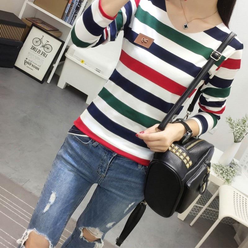 HTB1s FnXPbguuRkHFrdq6z.LFXaN - Autumn Korean Female harajuku Long Sleeve T-shirt Women Colorful