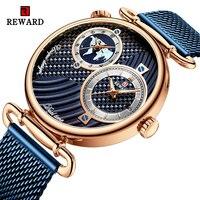 Награда роскошный модный сетчатый ремень мужские часы Аналоговые двойной циферблат кварцевые наручные часы Мужские часы мужские водонепр