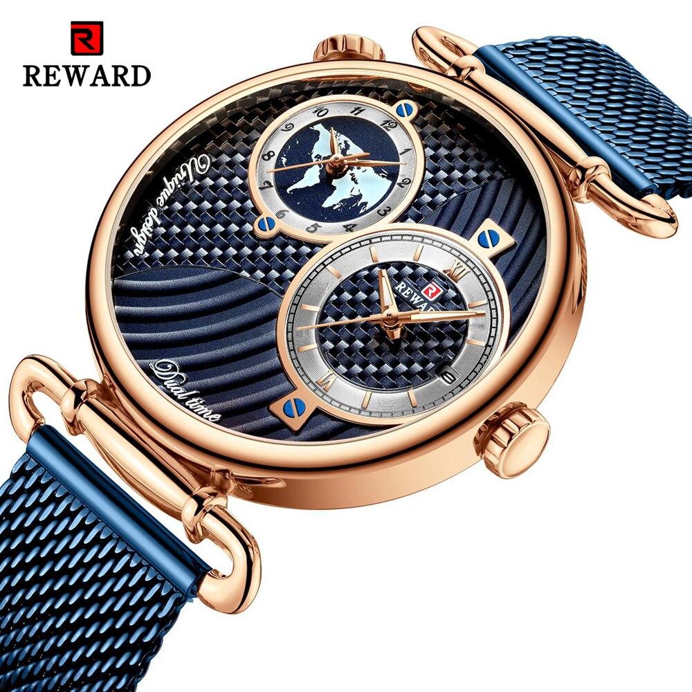 REWARD Luxury Fashion Mesh Belt Men Watch Analog Dual Dial Quartz Wristwatch Mens Watches Clock Male Waterproof Watch For Male