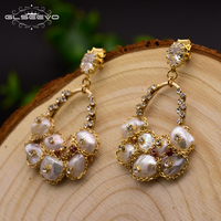 GLSEEVO 925 Silver Ear Pin Natural Fresh Water Baroque Pearl Drop Earrings For Women Engagement Dangle Earrings Jewellery GE0324