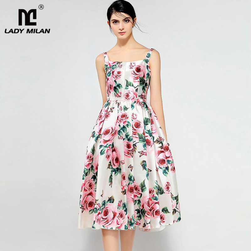 New Arrival 2018 Womens Spaghetti Straps Floral Printed Ruched Pleated High Street Fashion Desinger Runway Dresses