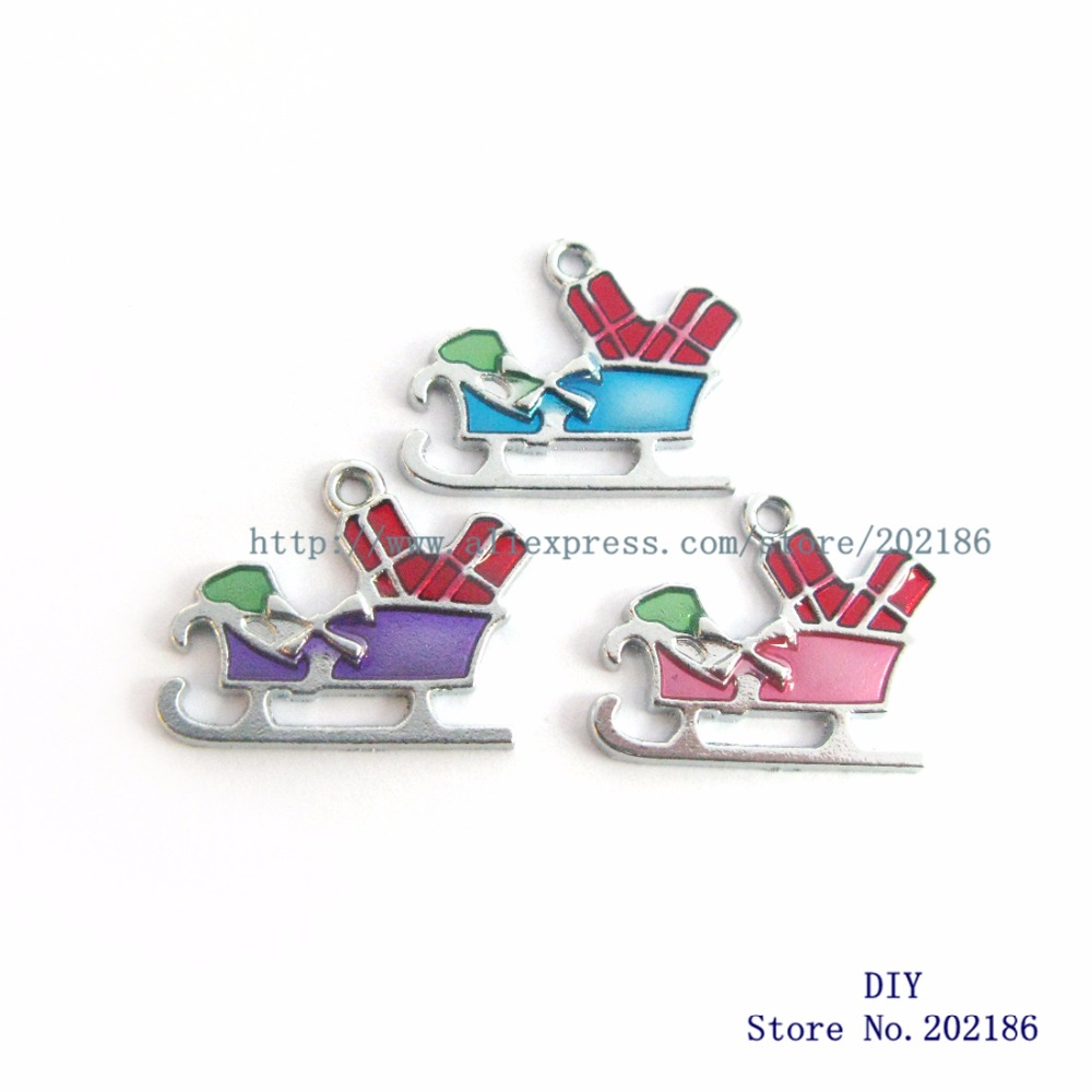 Wholesale 100pcs/lot Alloy Mix Color Christmas Sled Hang Charms Pendants Home & Garden