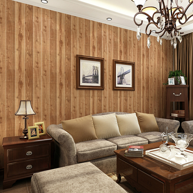 Charmant Chinese Style Wood Board Striped Living Room Bedroom Wallpaper Paper Wall  Covering Roll Soundproof Washable PVC