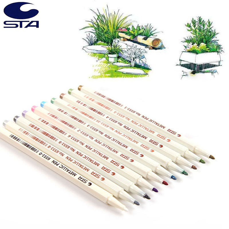 STA 10Colors Metallic Marker Pen DIY Scrapbooking Crafts Soft Brush Pen For Manga Children Drawing School Stationery Art Supplie