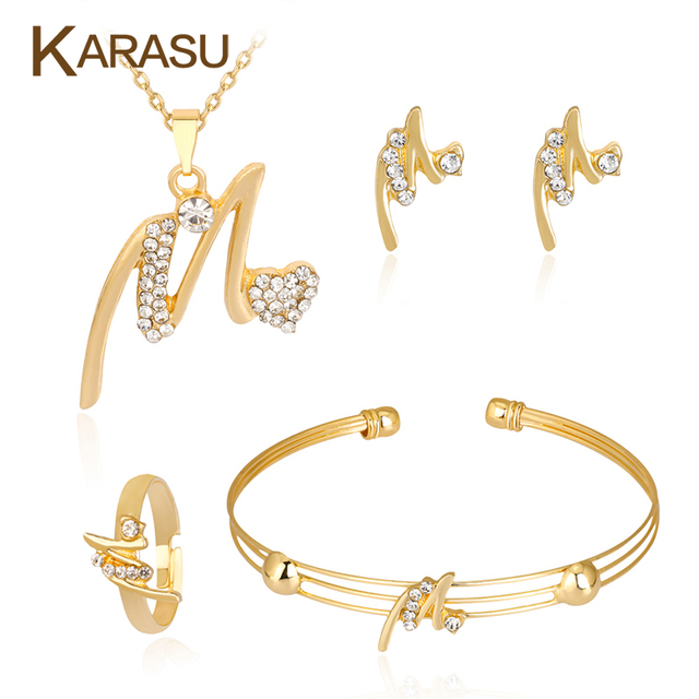 Karasu Gold Color Letter M Charm Women S Necklace Earrings Ring Bracelet Fashion Jewelry Set Wedding Party Accessories In Sets From