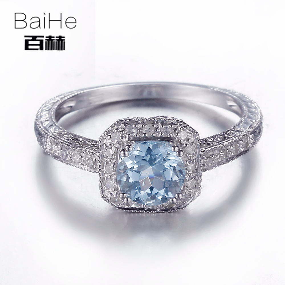 BAIHE Sterling Silver 925 0.84ct Certified Flawless Round 100% Genuine Sky Blue Topaz Engagement Women Trendy Fine Jewelry Ring цена