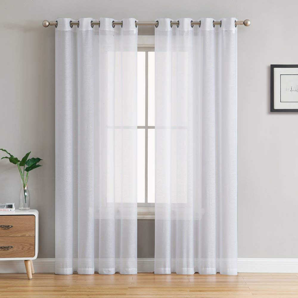 Однотонные белые тюлевые шторы для гостиной, спальни на окно, современный тюль, прозрачная вуаль, кухонная занавеска