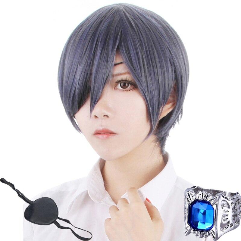 Black Butler 3 Ciel Phantomhive Dark Blue Mixed Grey Cosplay Wig Free Shipping