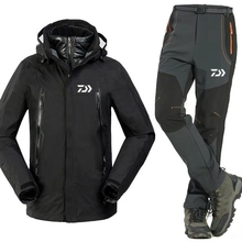 3pcs set New daiwa Fishing Clothing Sets Men Warm Outdoor Sports Wear Set Hiking Windproof Clothes Fishing Jacket& Pants winter outdoor fishing clothing camouflage sports men pants sports men jacket and pants fleece warm windproof for fishing