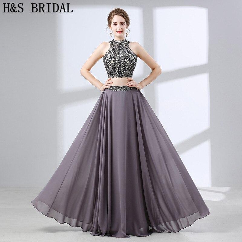 H&S BRIDAL Two pieces   Evening     Dress   Crystal Beading Chiffon   evening  -  dresses   Backless   evening   gowns for women vestido de festa