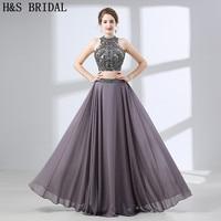 H&S BRIDAL Two pieces Evening Dress Crystal Beading Chiffon evening-dresses Backless evening gowns for women vestido de festa